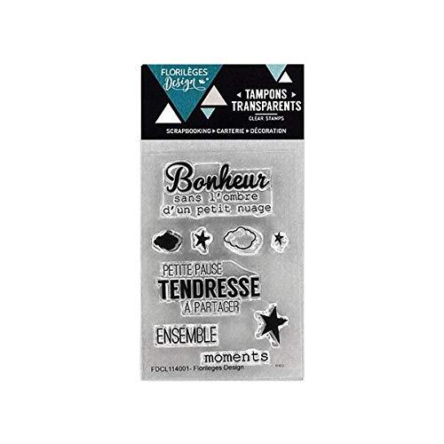 Florilèges Design FDCL114001 Scrapbooking Tampons Clear Mini Bonheur Tendresse, Beige