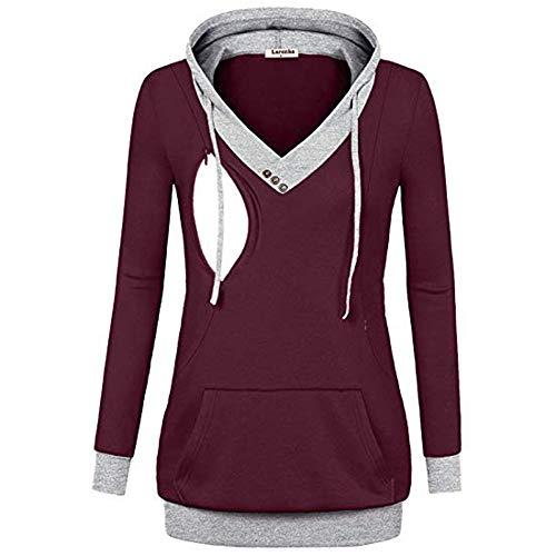 SANFAHSION Hoodie de Maternité,Sweat de Grossesse Blouse d'allaitement Brassière Top Chapeau Mode Vêtement Slime Shirt Confortable(Rouge,L)