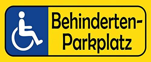 Cartel de chapa para aparcamiento de discapacitados de NWFS (placa de aparcamiento amarilla con silla de ruedas azul), cartel de metal, placa de metal curvada lacada, 10 x 27 cm