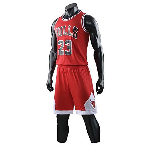 ccaat Herren Michael Jordan # 23 Chicago Bulls Retro Basketball Shorts Sommer Trikots Basketballunifor (L, rot)