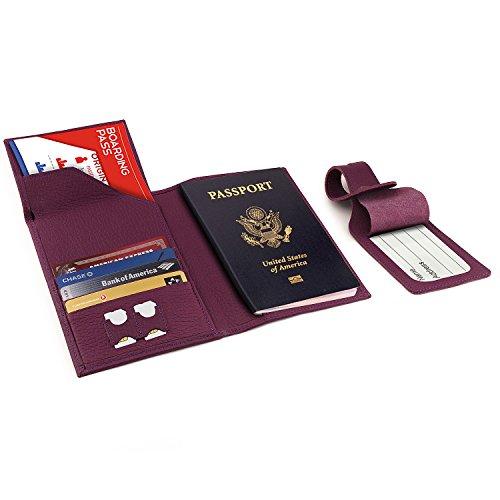Otto Angelino Echtleder Reisepasshülle - RFID Schutz mit Flugticket-Fach und Gepäck-Anhänger (Lila)