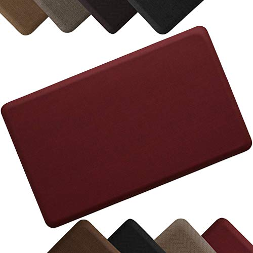 "NewLife by GelPro Anti-Fatigue Designer Comfort Kitchen Floor Mat Stain Resistant Surface with 5/8"" thick ergo-foam core for health and wellness 18x30 Grasscloth Crimson"