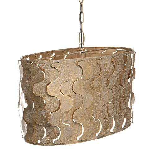 Lámpara de techo ovalada luxury de metal oro viejo, de 70x33x34 cm - LOLAhome