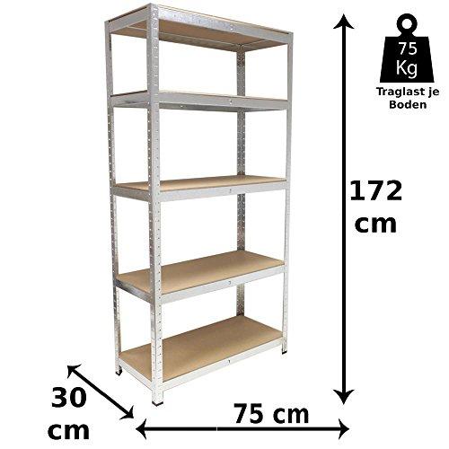 Grafner Schwerlastregal mit 5 Böden aus MDF, maximale Belastung 375 kg, abgerundete Ecken, 75x30x172 cm, Steckregal, Lagerregal Kellerregal