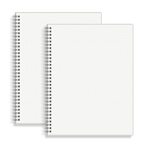 """HULYTRAAT Large Dot Grid Spiral Notebook, 8.5"""" x 11"""", Premium 100 gsm Ivory White Paper, Sturdy See-Through Cover, 128 Dotted Pages per Book (2 Pack) for Home, School, Office, Artist Writing/Drawing"""