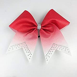 Red Glitter Ombre Cheer Bow - Cheer Bows Red - Cheer Bows Cheap - Glitter Cheer Bows - Cheer Bows with Rhinestones - Cheerleading Gift