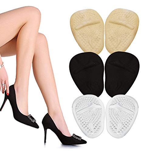 High Heel Cushions -Ball of Foot Pads- Non Slip Shoe Inserts - Forefoot Metatarsal Pads for Women & Men for Foot Pain Relief -High Heel Inserts for shoe comfort- Beige Clear Black Ball of Foot Cushion