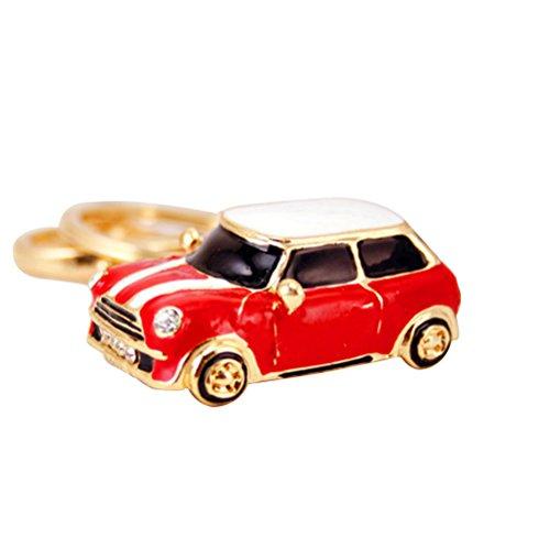 VORCOOL Schlüsselanhänger Glas Modell Mini Cooper Schlüsselanhänger Metall Anhänger Damen-Handtasche rot