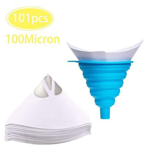 N /A JINXM 100 PCS filtros de pintura de papel desechables con 1 embudo plegable de silicona (azul)