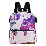 TIZORAX - Mochila Escolar con diseño de Mapa del Mundo en Acuarela, Color Morado