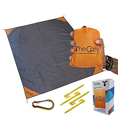 Sand Free Compact Beach Blanket - Pocket Picnic Sheet for Outdoor Multiple Use | Best Mat for Travel & Festivals, Soft & Quick Drying with 4 Portable Tent Pegs and a Unique Gift Box from TheCozy Adventures