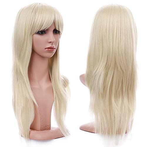 S-noilite Women Long Straight Bleach Blonde Full Wig Natural Daily Cosplay Party Costume Synthetic Hair Wigs With Bangs 23inch