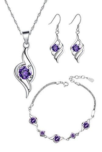 Ladys Sterling Silber Lila Amethyst Zirkonia Schmuck-Sets mit Engel-Anhänger-Halskette + baumeln Ohrringe + Engel Armband