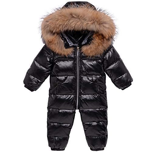 Baby Schneeanzüge Winter Overall Mit Kapuze Daunen-Skianzug Strampler Mädchen Jungen Winter Outfits, Schwarz 12-18 Monate