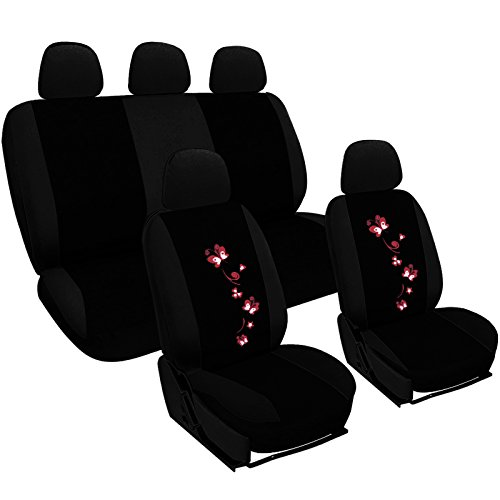 WOLTU AS7251 Sitzbezüge Auto Schonbezüge universal Größe, Butterfly Stickerei, schwarz