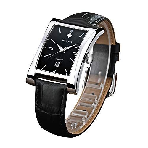 HopeU5 WWOOR quadrante quadrato moda uomo luminoso orologio da polso sportivo cinturino in pelle calendario al quarzo impermeabile