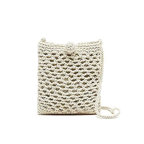 MISAKO Bolso de Crochet Mujer | Bolso Pequeño de Algodón de Punto Blanco Casual | Bolso Bandolera de Verano para Mujer - 18x16x2cm