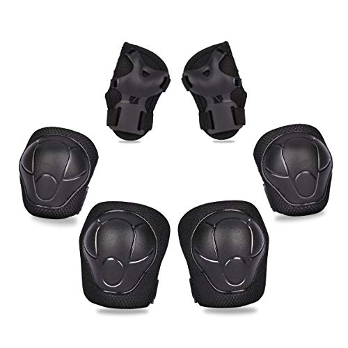 eNilecor Kid's Knee Pads Elbow Pads Wrist Guards for & Roller Skating Skateboarding Cycling Blading Protective Gear Pack of 6 (Black)