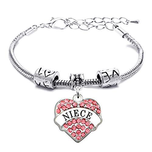 lauhonmin Gift for Girl Silver Alloy Pink Crystal Love Heart Niece Charm Pendant Bracelet Family Bangle Adjustable