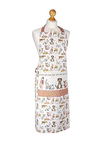 SPOTTED DOG GIFT COMPANY Küchenschürze für Frauen Damen lustiges Hundemotiv Kochschürze Baumwolle mit Taschen zum Kochen, Hund Geschenk für Hundeliebhaber