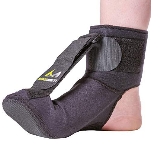 BraceAbility Plantar Fasciitis Night Sock   Soft Stretching Boot Splint for Sleeping, Achilles Tendonitis Foot Support Brace & Heel Pain Relief Compression Sleeve (Medium)