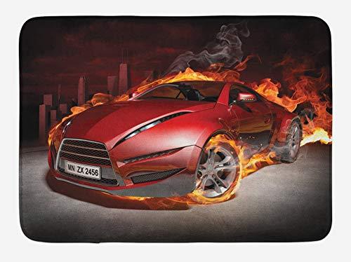Cars Alfombrilla de baño, Neumáticos rojos quemados para coches deportivos en llamas Motor ardiente Automóvil de humo de fuego caliente, Alfombra de felpa para decoración de baño con respaldo antidesl