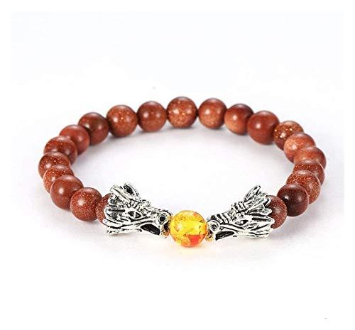 ACCDUER Stone Bracelet Women,7 Chakra Natural Stone Bangle Amber Beads Golden Sandstone Bracelets Elastic Double Dragon Jewelry Couple Women Stone bracelet