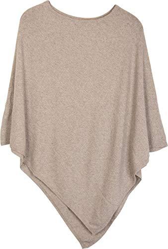 styleBREAKER Damen Feinstrick Poncho in Unifarben, leicht asymmetrischer Schnitt, Ärmellos, Rundhals 08010042, Farbe:Hellbeige