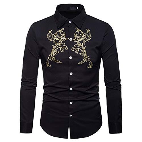 Generice Camisas de vestir de manga corta con botones para hombre