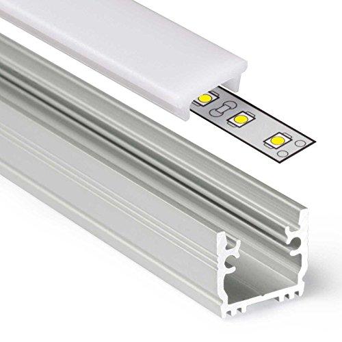 Perfil de aluminio FLOOR12 (FR) de 1 m de perfil de aluminio anodizado para tiras LED – Juego incluye cubierta de carril blanco lechoso con tapas y juego de juntas (1 metro de clic lechoso)
