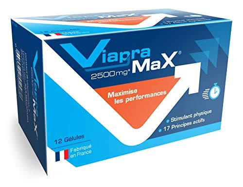 VIAPRAMAX Estimulante muy potente con efecto inmediato y duradero, Resistencia, Fuerza, Capacidad mental – Estimulador Hombre - Activos eficaces validados por las autoridades francesas, 12 cápsulas