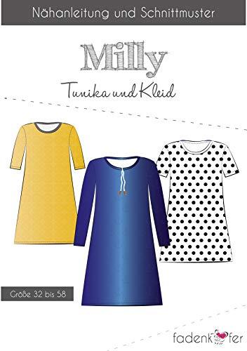 Brittschens Stoffe und Zutaten Papierschnittmuster Milly Damen - Kleid Tunika - nähen für Damen - Größe 32-58 - Schnittmuster