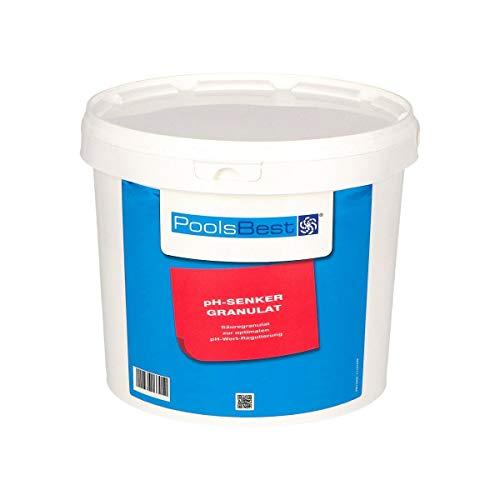 POOLSBEST® 5 kg pH Senker Granulat für Pools - wirksames Granulat inklusive Messbecher - pH Minus zur optimalen pH-Wert Stabilisierung