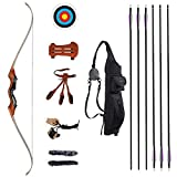 TOPARCHERY 58'' Archery Takedown Recurve Bow and Arrow Set for Adults 35-55 lbs with 6X Carbon Arrows Quiver Longbow Kit for Outdoor Hunting Training Right Hand (50)
