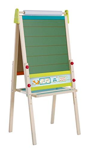 roba Tafel 'ABC Eule', höhenverstellbare Standtafel mit Schreibtafel liniert & Maltafel magnetisch, ABC & Ablage, Kindertafel Holz, natur
