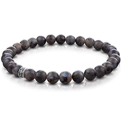 FABACH Labradorit Perlenarmband mit 6mm Edelstein-Perlen und 925 Sterling Silber Logo-Perle - Edles Naturstein Stretch-Armband für Damen (Grau-Schwarz)