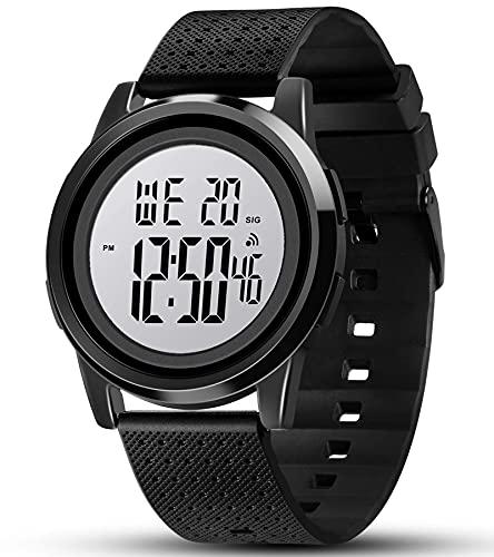 YUINK Mens Digital Watch Ultra-Thin Sports Waterproof Simple Watch Stainless Steel Wrist Watch for Men Women