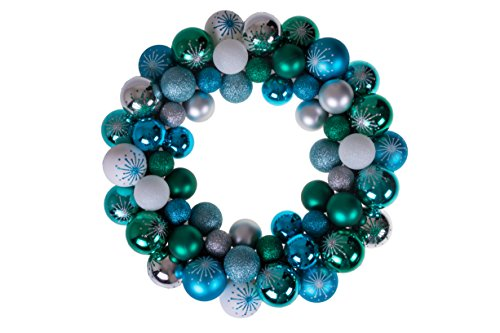 Clever Creations Christmas Ornament Wreath Blue, Green, White & Silver, Festive Holiday Décor, Classic Theme, Lightweight Shatter Resistant