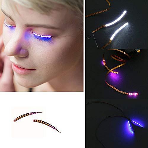 EisEyen Resistente al Agua LED pestañas postizas Voz Larga 3D Ojos Lid Pegatinas para Masquerade Ball Fiestas Halloween Christmas Pub Club Bar