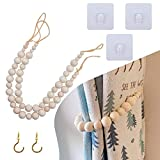 2 Sets Curtain Tie Backs Attach to Wall, Outdoor Curtain Tiebacks with Brass Hooks, Natural Wood Curtain Holders, Curtain Pull Backs, Boho Curtains, Beaded Curtain Holdbacks