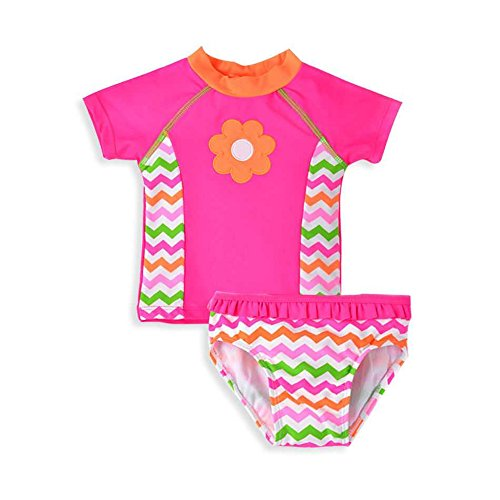 KABETY Baby Girl Swimsuit Toddler Kid Short Sleeve Two Pieces Bathing Suit Rash Guard Set (Pink, 6T)