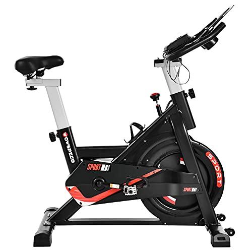 Fahrradtrainer, Heimtrainer, Mit Transporträdern Fitnessfahrrad Indoor Bike mit Pulsmesser, LCD Display, Ipad Halter, Sitz & Widerstand Einstellbar, Fitness Bike erstützung 150kg.
