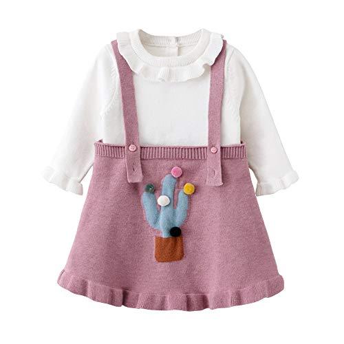 QSEFT Neonate Abbigliamento Abbigliamento Completi Abiti Abito da Principessa Bambini Bambini Felpa + Vestito da Cinturino 2 Pezzi Set 0-5 Anni