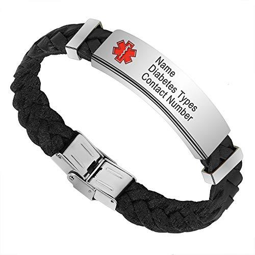 Pulsera de alerta médica personalizada hombre, pulsera de cuero para hombres Grabado Detalles médicos Nombre ID Números Alergia Pulseras de conciencia SOS con caja de regalo (Black, 20)