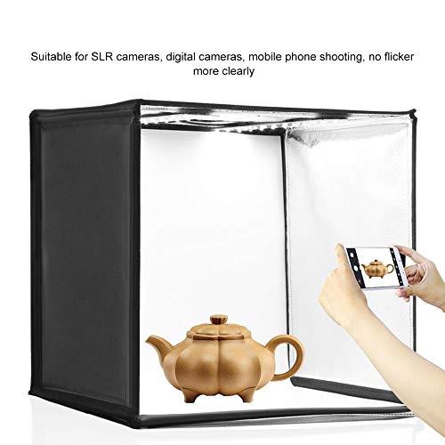 FastDirect - Mini scatola luminosa da studio, 40 x 40 cm, con luce LED, studio di ripresa da tavolo, con 6 colori di sfondo