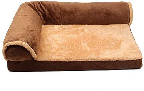 Hondenbank voor huisdieren, wasbaar, orthopedische hondenbank voor katten, chaise longue L met comfortabele L-vormige huisdieren, met afneembaar kussen (kleur: donkerbruin, afmetingen: L 60 x 75 cm), L(60x75cm), Donker bruin
