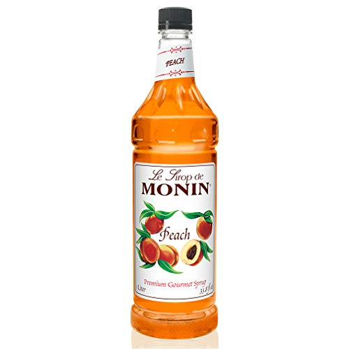 Monin - Peach Syrup, Fresh and Juicy Flavors, Great for Iced Teas, Lemonades, and Sodas, Non-GMO, Gluten-Free (1 Liter)