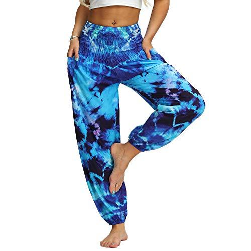 Nuofengkudu Damen Hippie Yogahosen Haremshosen mit Taschen Leichte Boho Muster Bunt High Waist Pumphose Sommer Lockere Strandhose (Blau A,One Size)