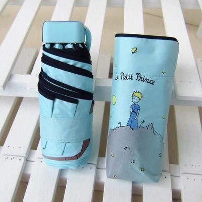 MAWA Dibujos Animados pequeño príncipe Paraguas Lluvia Mujeres Paraguas Plegable Mujer soleada Parasol Lindo Mini Paraguas de Bolsillo - príncipe Azul ácido