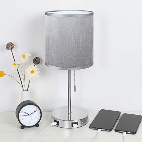 USB Grey Bedside Table Lamp, Seealle Nightstand Desk Lamp with Grey...